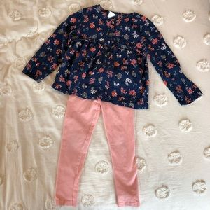 Carter's 4T Floral Top and Leggings